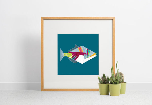 Geometric Picasso Triggerfish giclee print on textured bamboo paper (unframed)