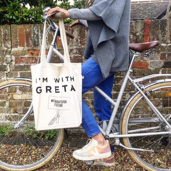Pair of I'm with Greta totes made from recycled fabric in your choice of colours