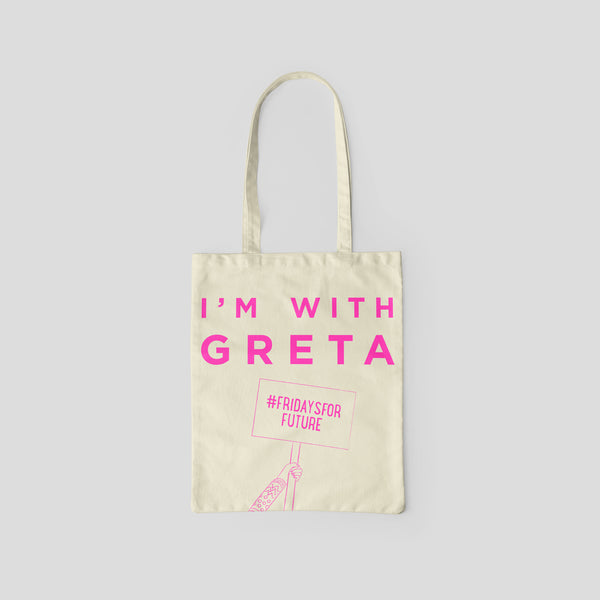 I'm with Greta hot pink slogan bag made from recycled fabric