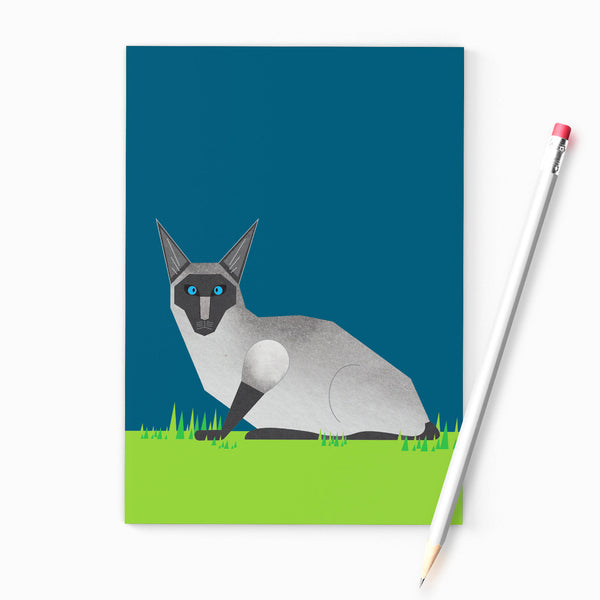 Siamese Cat A6 notebook, printed on recycled paper