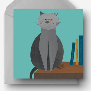 Grumpy British Blue Cat charity card, made from recycled paper