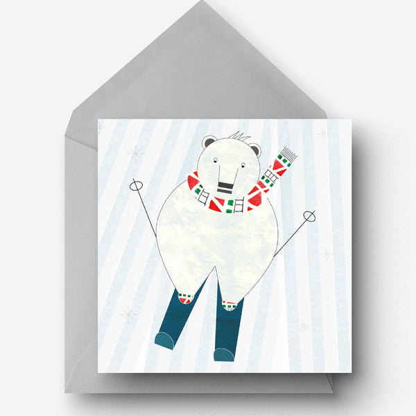 Pack of 5 Skiing Polar Bear Christmas Charity Cards