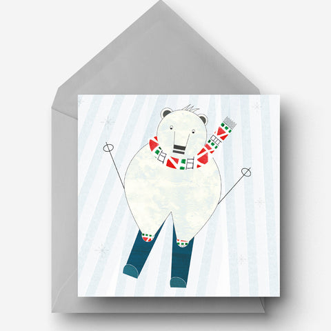 Skiing Polar Bear charity Christmas card