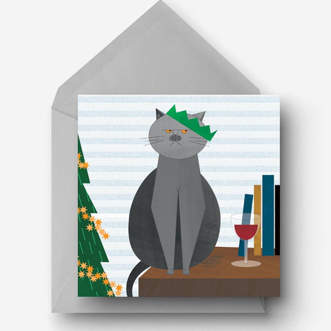 Grumpy Christmas British Blue cat charity card