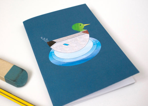 Mr Mallard Duck A6 notebook, printed on recycled paper