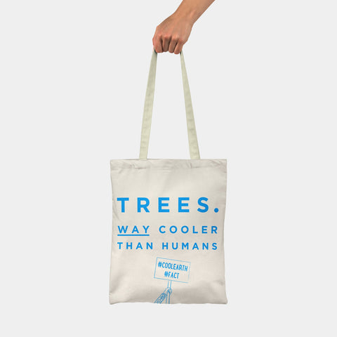 Cool Trees slogan tote bag made from recycled fibres