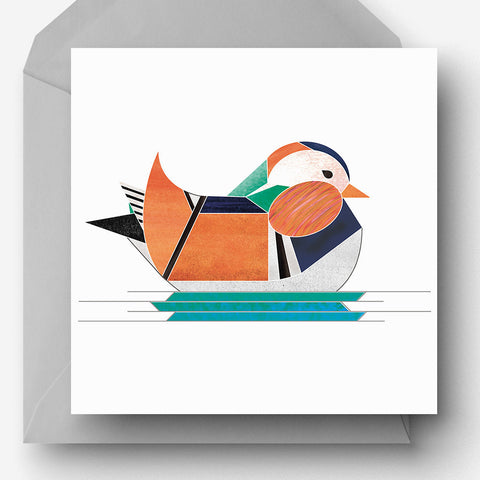 Mandarin duck greetings charity card
