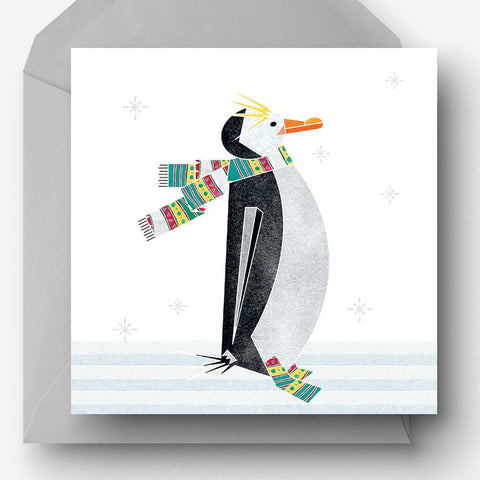 Winter Penguin in a scarf charity Christmas card