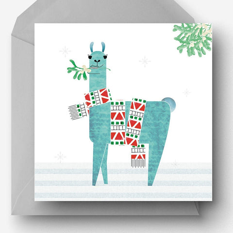 Christmas Llama with mistletoe charity Christmas card