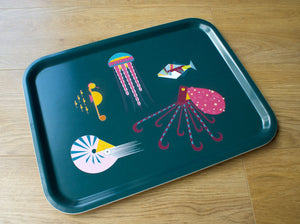 Large sea creatures sustainable wood tea tray