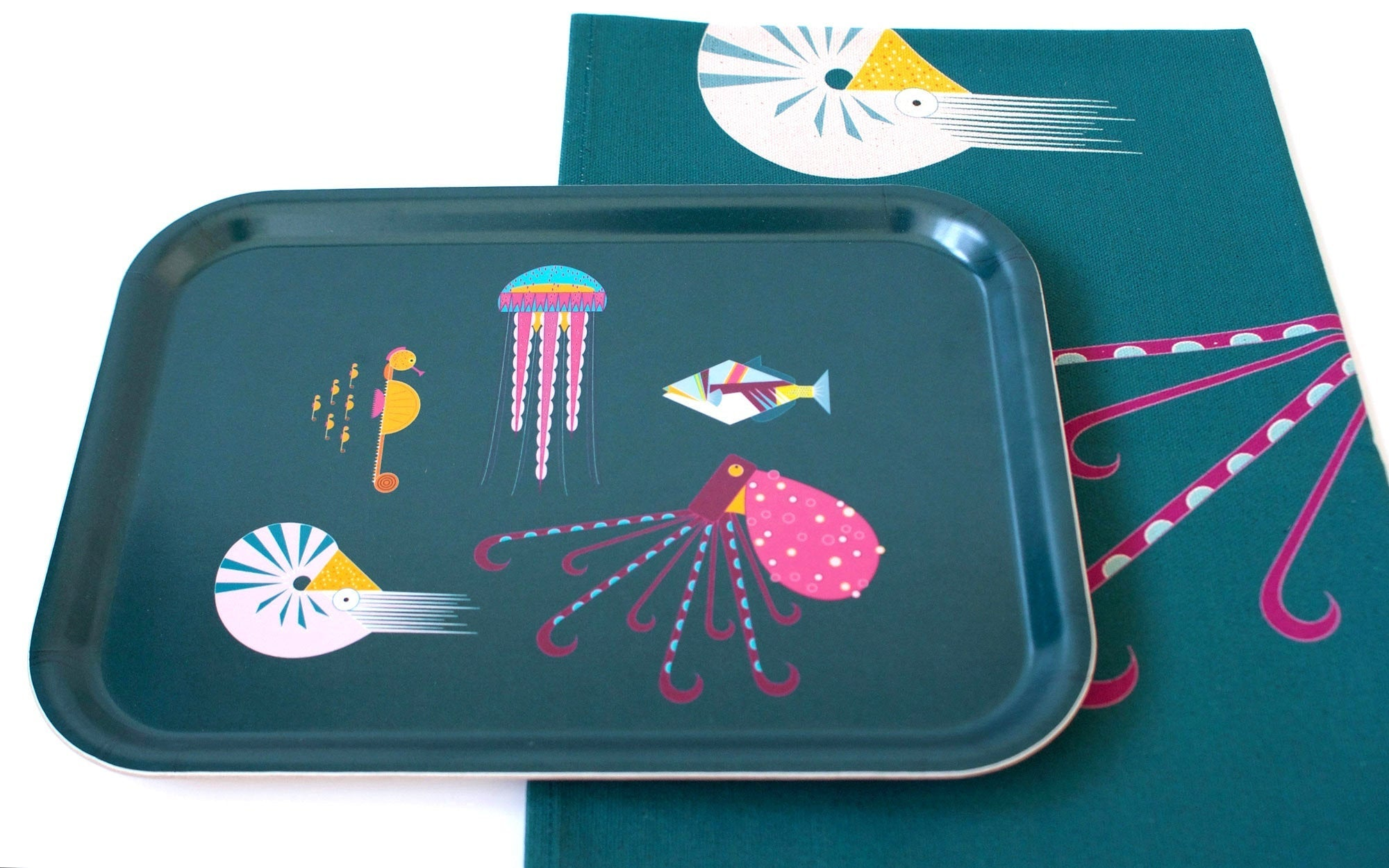 Small sea creatures sustainable wood tea tray