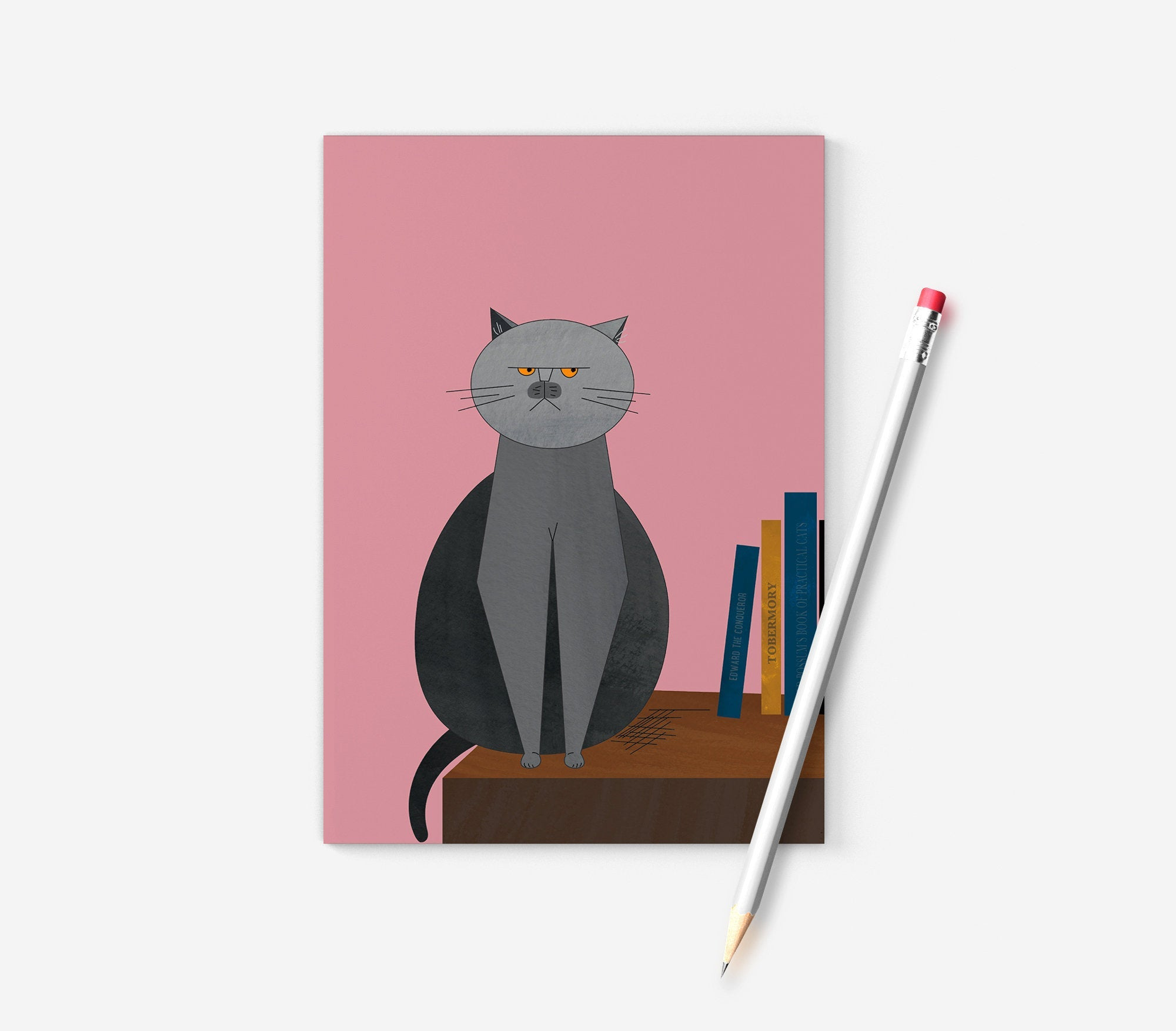 Grumpy British Blue cat A6 notebook, printed on recycled paper