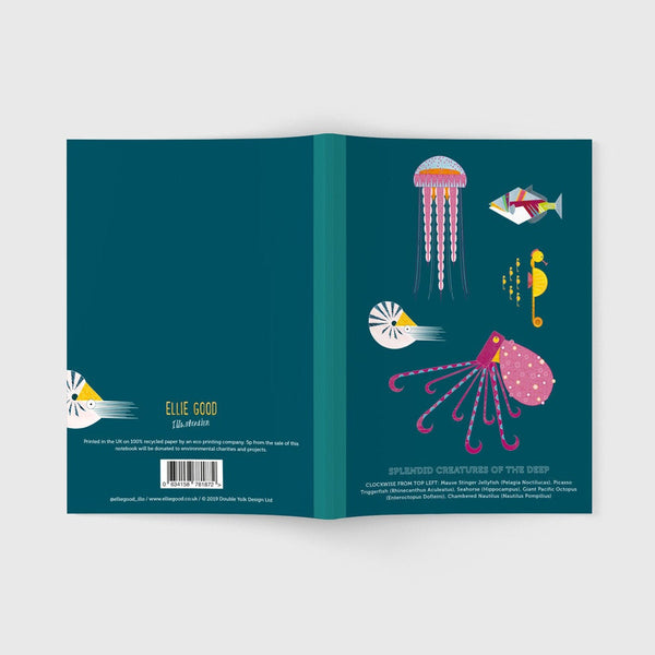 Splendid Sea Creatures A5 recycled notebook with plain pages