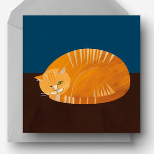 Ginger Moggy Cat charity card made from recycled paper