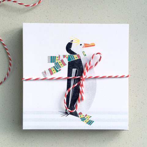 Pack of 10 small Winter Penguin in a scarf charity Christmas cards