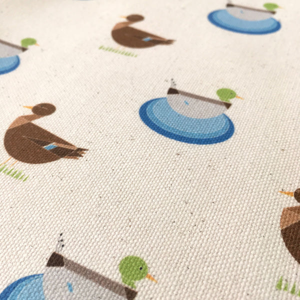 Mr and Mrs Duck patterned organic tea towel
