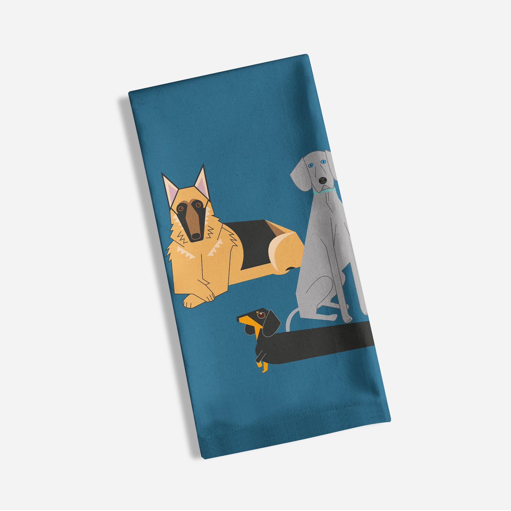 Doggy friends blue tea towel made from 100% organic cotton