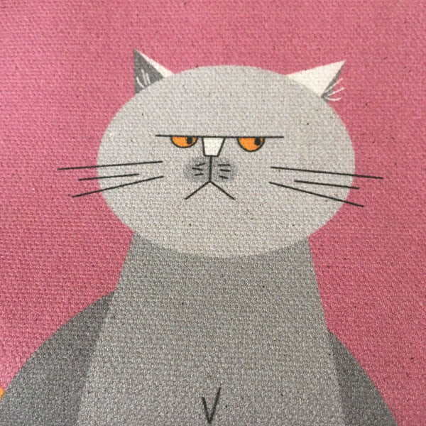 Cat Characters pink tea towel made with 100% organic cotton