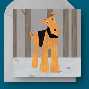 Airedale / Welsh Terrier dog charity card