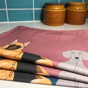 Doggy Friends set of 3 Organic Cotton Tea Towels