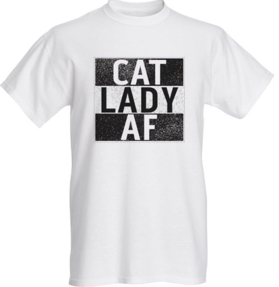 Cat Lady AF White T-Shirt