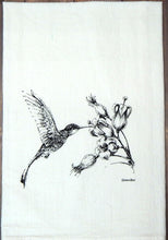 Load image into Gallery viewer, Hummingbird and Flower Tea Towel