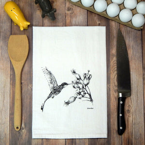 Hummingbird and Flower Tea Towel
