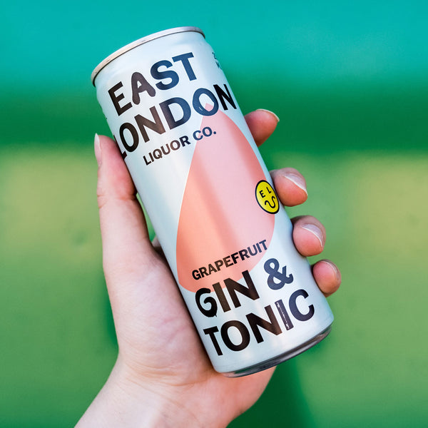 East London Liquor Gin and Tonic Can in Hand