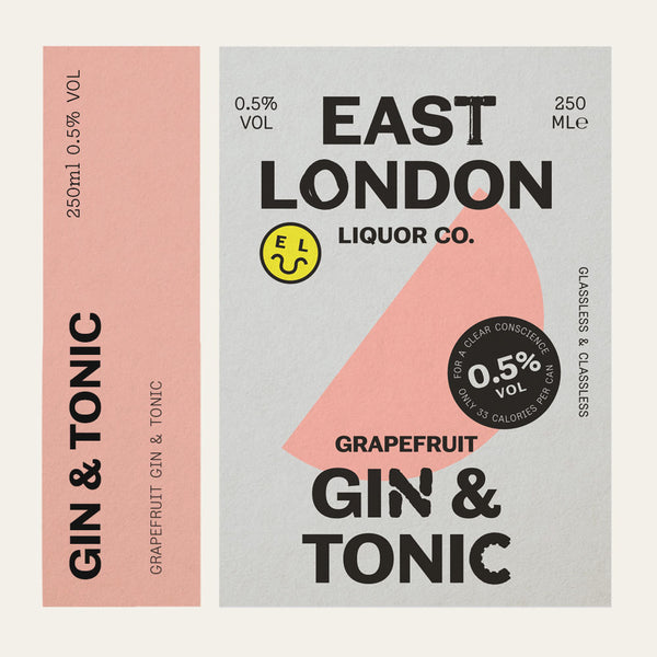 12 CANS OF EAST LONDON GRAPEFRUIT GIN & TONIC, 0.5% ABV