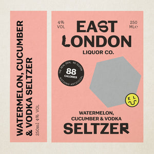 East London Watermelon, Cucumber & Vodka Seltzer Label