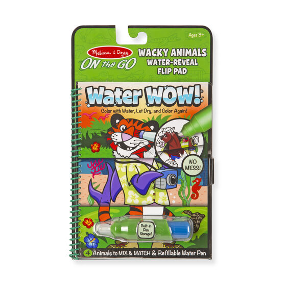 Water Wow!- Wacky Animals Water Reveal Flip Pad - On the Go Travel Activity