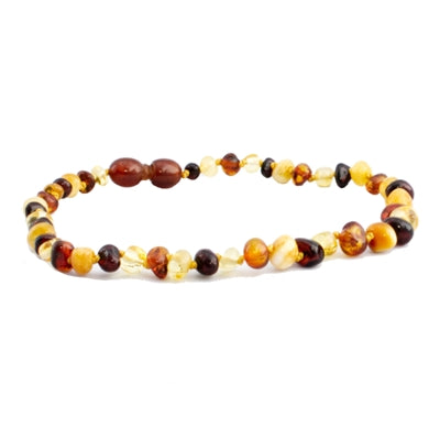 The Amber Monkey Polished Baroque Baltic Amber 10-11 inch Necklace -  raw Multi POP