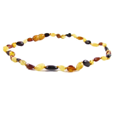 The Amber Monkey Polished Baltic Amber 12-13 inch Necklace - Multi Bean POP