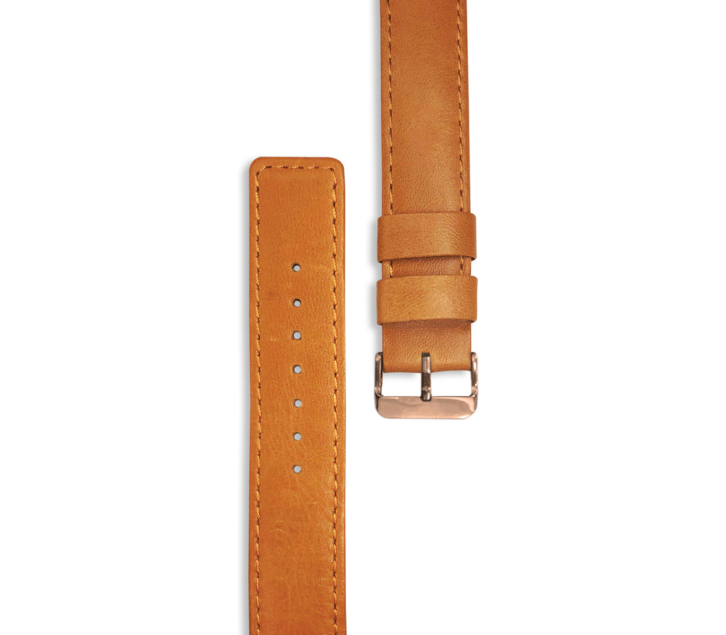 Brown Leather Watch Strap (rose gold hardware) - Gregory Sylvia