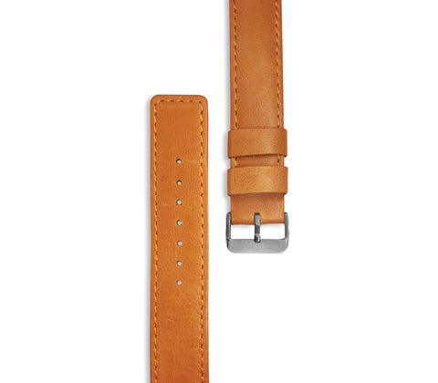 Brown Leather Watchstrap with silver hardware