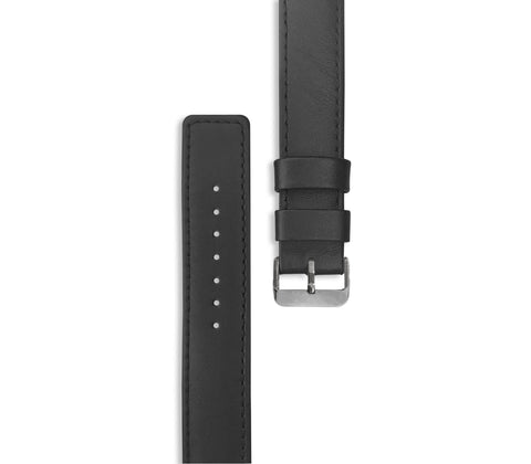 Black Leather Watch Straps (with silver hardware)