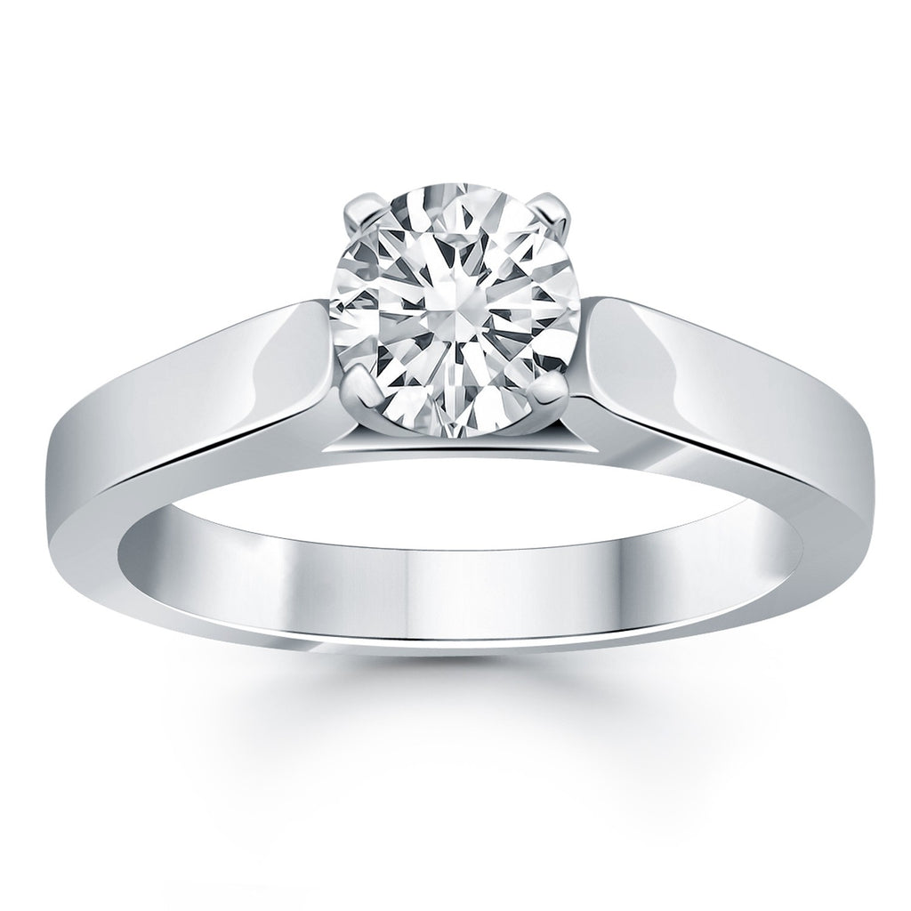 14k White Gold Wide Cathedral Solitaire Engagement Ring