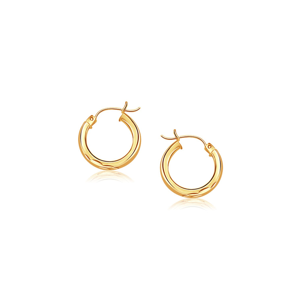 14k Yellow Gold Hoop Earring with Diamond-Cut Finish (20mm Diameter)