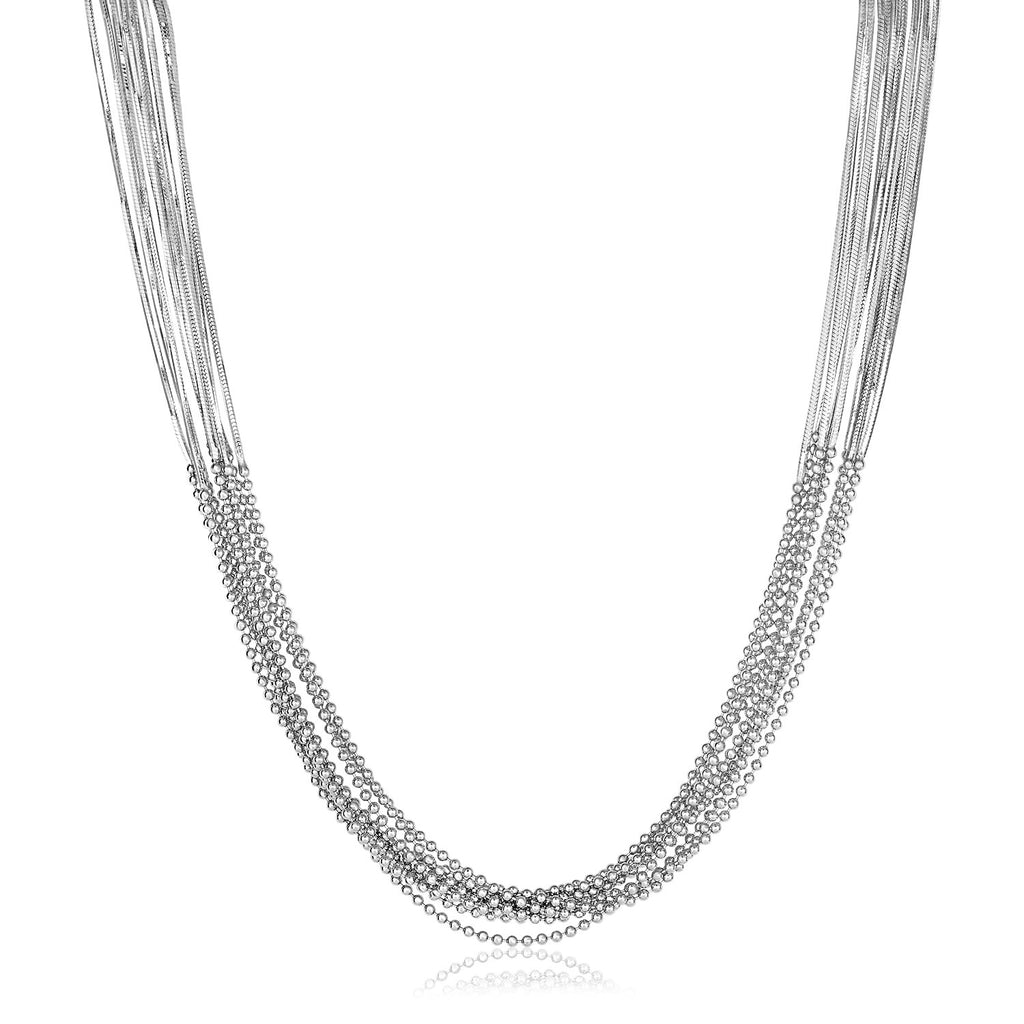 Sterling Silver Multi Strand Snake and Bead Chain Bracelet
