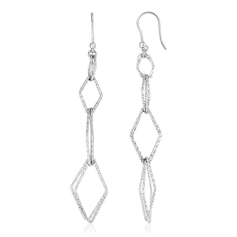 Sterling Silver Textured Interlocking Diamond Motif Dangle Earrings