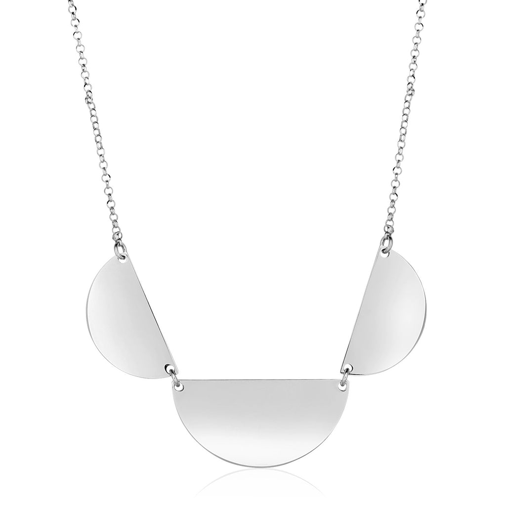 Sterling Silver 18 inch Necklace with Three Polished Half Circles