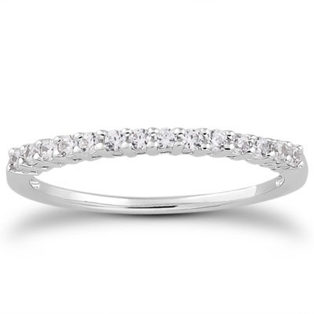 14k White Gold Shared Prong Diamond Wedding Ring Band with Airline Gallery