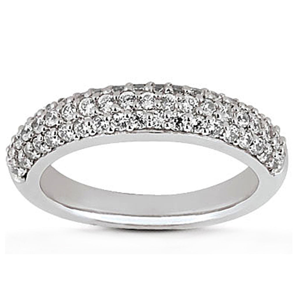 14k White Gold Triple Multi-Row Micro- Pave Diamond Wedding Ring Band