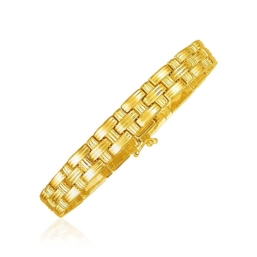 14k Yellow Gold Basket Weave Bracelet