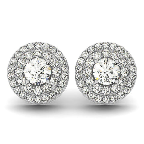 14k White Gold Double Halo Round Diamond Earrings (1 1/4 cttw)