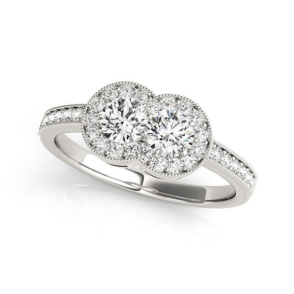 14k White Gold Two Stone Diamond Halo Ring (3/4 cttw)