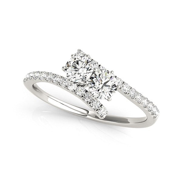 Two Stone Bypass Diamond Ring in 14k White Gold (3/4 cttw)