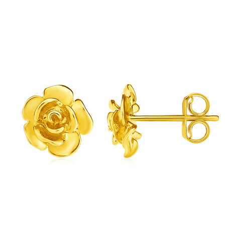 14k Yellow Gold Post Earrings with Roses