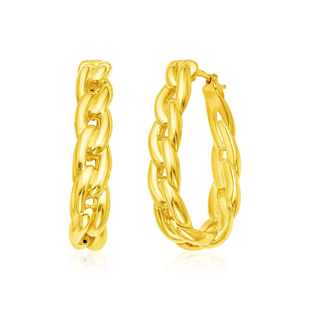 14k Yellow Gold Curb Chain Hoop Earrings