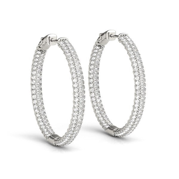 14k White Gold Two Row Pave Set Diamond Hoop Earrings (7 cttw)